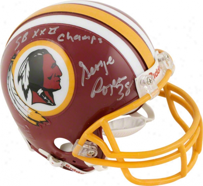 George Rogers Washington Redskins Autographed Mini Helm With Sb Xxii Champs Inscription