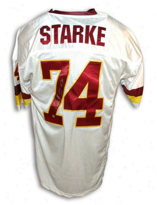 George Starke Autographed Washington Redskins White Throwback Jersey Inscribed &quothead Hog&quot