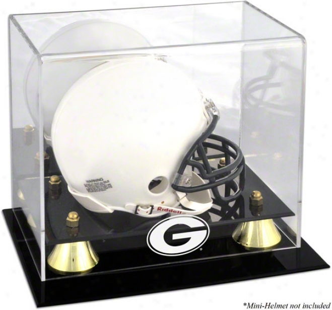 Georgia Bulldogs Golden Classic Logo Mini Helmet Display Case