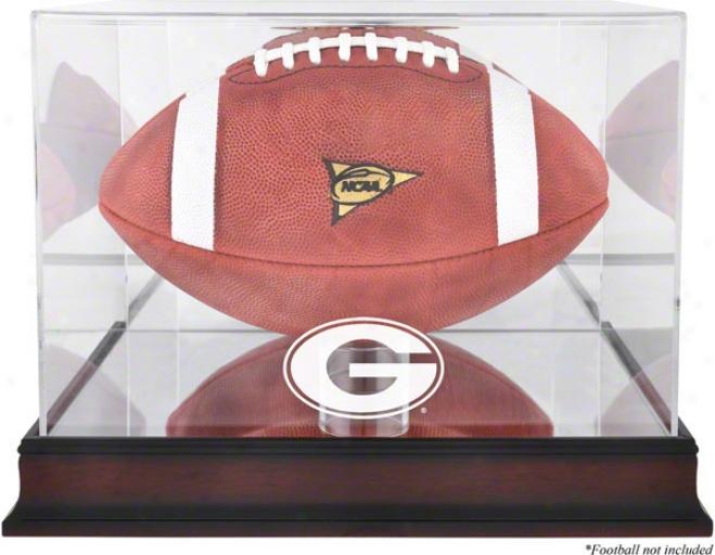 Geotgia Bulldogs Mahogany Logo Football Display Cover