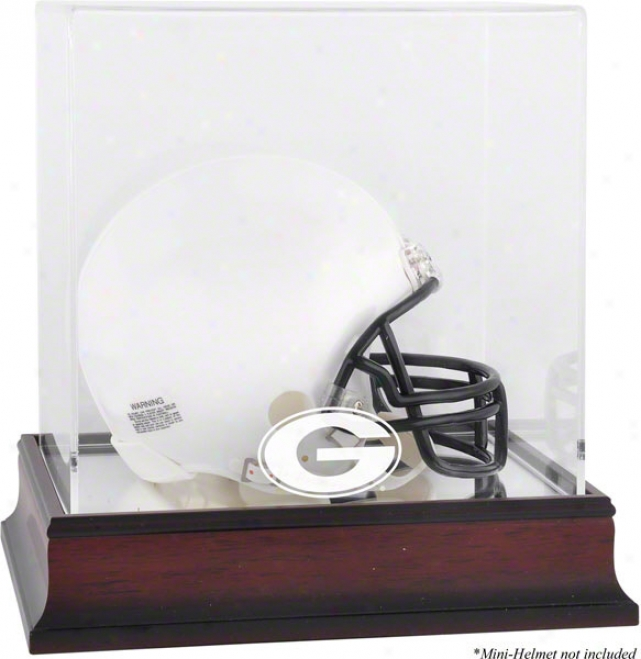 Georgia Bulldogs Mahogany Logo Mini Helmet Display Case