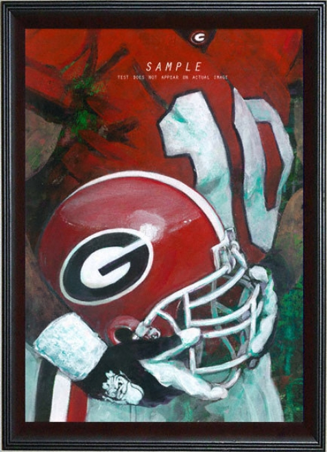 Georgia Bulldogs - &quotu Of G Helmet Series&quot - Large - Frramed Giclee