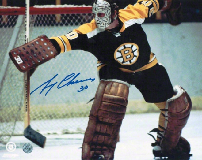 Gerry Cheevers Boston Bruins Autographed 8x10 Photo In Goal