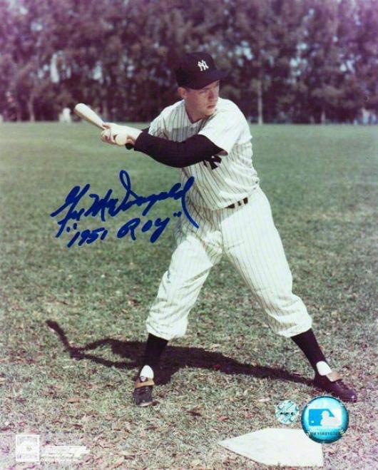 Gil Mcdougald Autographee New York Yankees 8x10 Photo Inscribed &quot1951 Roy&quot