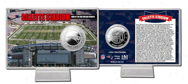 Gillette Stadium Coin Card: New England Patriots Silver Invent Card