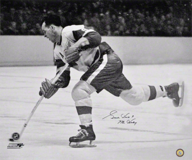 Gordie Howe Autographed 20x24 Photograph  De5ails: Detroit Red Wings, Black And White With 'mr. Hockey' Iscription