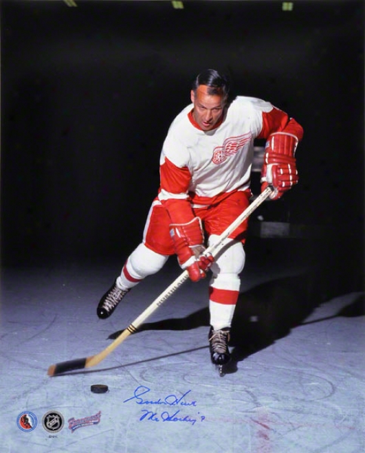Gordie Howe Detroit Red Wings -vertical- 16x20 Autographed Photograph With ''mr. Hockey'' Inscription