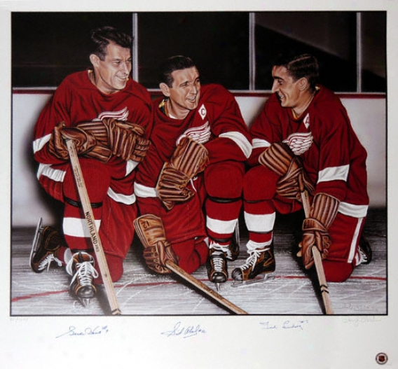 Gordie Howe, Sid Abell & Ted Lindsay Detroit Red Wings Autographed Combo Lithograph