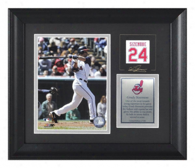Grady Sizemore Framed 6x8 Photograph  Details: Cleveland Indians, Wth Facsimile Signature