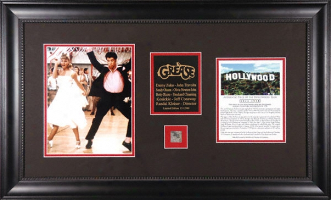 Grease - John Travolta And Olivia Newton-john - Framed 8x10 Photograph With Piece Of Hollywood Sign