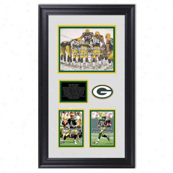 Green Bay Packers 2007 Nfc Conference Champions Framed 8x10 Photograph W/4x6 Photos And Patch