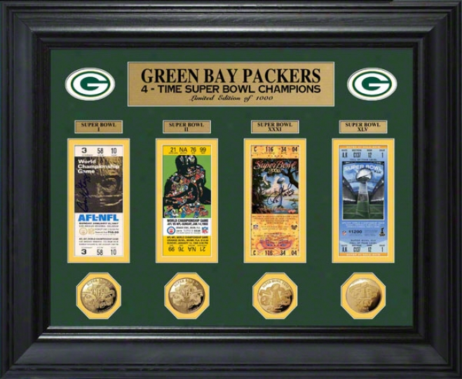 Green Bay Packers 4x Super Hollow Champions Ticket And Game Coin Photo Mint