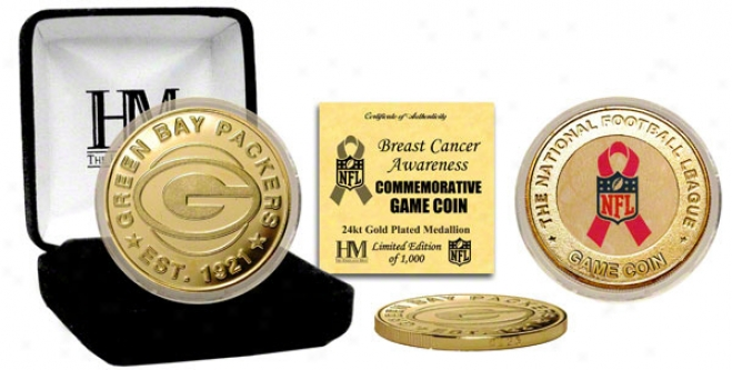 Green Bay Packers Breeast Cancer Awareness 24kt Gold Courageous Coin