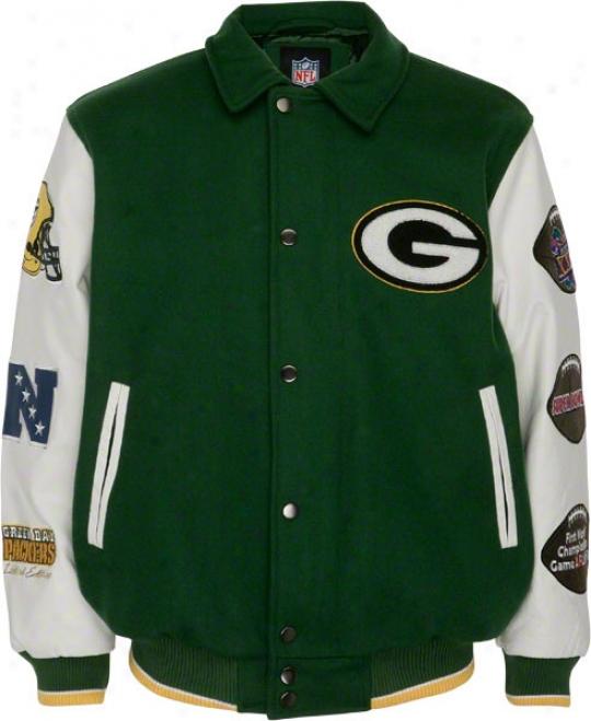Green Bay Packers Full-zip Commemorativve Wool Varsity Jacket