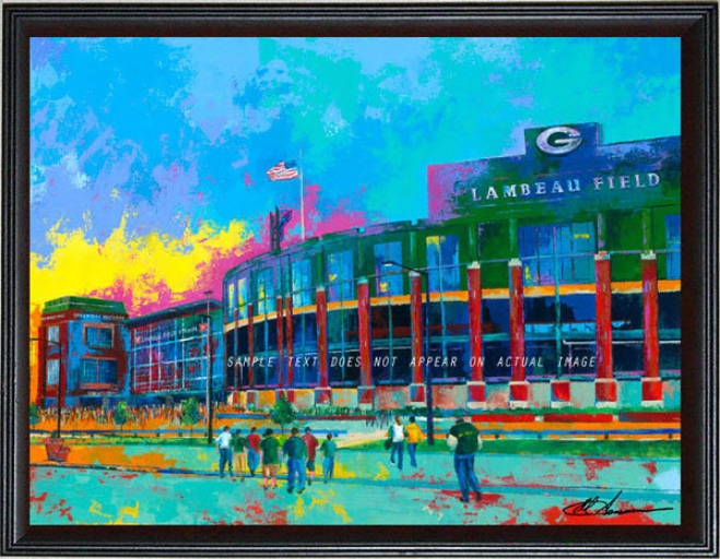 Unseasoned Bay Packers - &quotlambeau Field&quot - Oversized - Framed Giclee