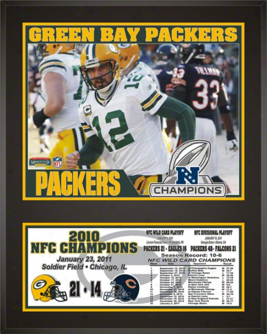 Green Bay Packers Sublimated 12x15 Plaque  Details: 2010 Nfc Champions