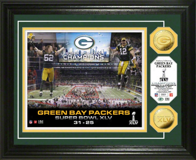 Green Bay Packers Super Bowl Xlv Champions 24kt Gold Coin Celebration Photo Mint