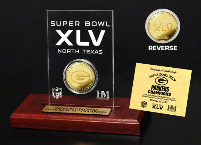 Green Check Packers Super Bowl Xlv Champions 24kt Gold In Etched Acrylic