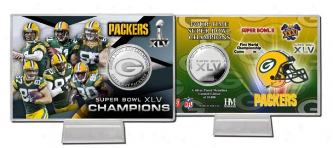 Green Bay Packers Super Bowl Xlv Champions Silver Coin Card