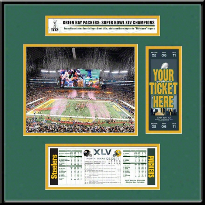 Green Baywood Packers Suped Bowl Xlv Champions Ticket Frame Jr.