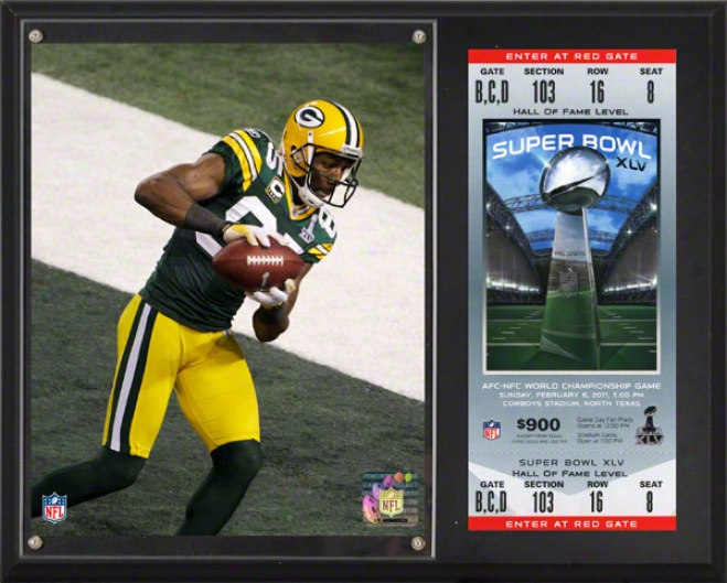 Greg Jennings Sublimates 12x15 Plaque  Details: Green Bay Packers, Super Bowl Xlv Champions, With Replica Ticket