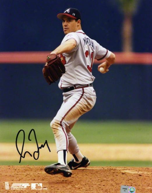 Greg Maddux Autographed 8x10 Photograph  Details: Atlanta Braves, Grey Uniform