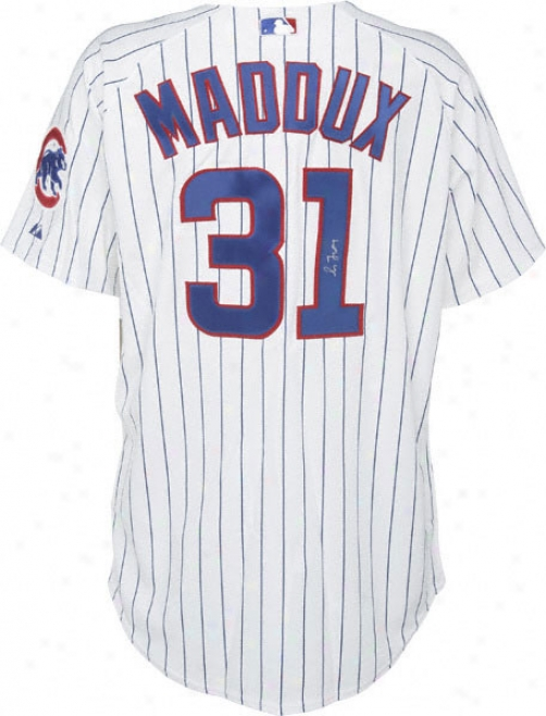 Greg Maddux Chicago Cubs Autographed Majestic Athletic Authentic Pinstripe Jersey