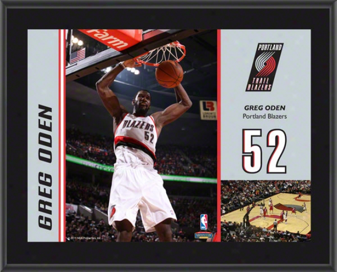 Gre Oden Plaque  Details: Portland Trail Blazers, Sublimated, 10x13, Nba Plaque