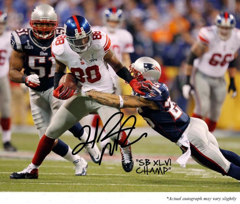 Hakeem Nicks Autographed 8x10 Photograph  Details: Repaired York Giants, Super Bowl Xlvi, With &quotsuper Bowl Xlvi Champ&quot Inscription