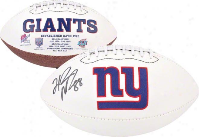 Hakeem Nicks Autographed Football  Details: New York Giants