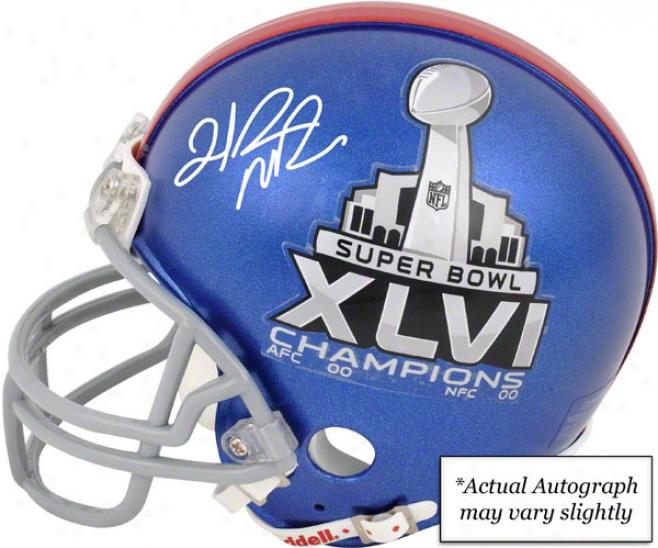 Hakeem Nicks Autographed Mini Helmet  Details: New York Giants, Super Bowl Xlvi