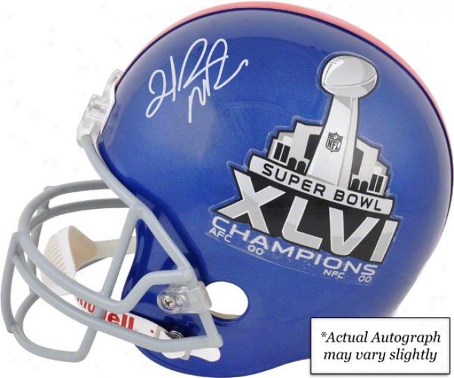 Hakeem Nicks Autographed Replica Helmet  Details: New York Giants, Super Bowl Xlvi