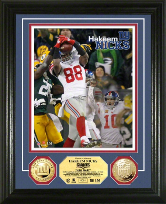 Hakeem Nicks New York Giants &quothail Mar&yquot 24kt Golld Coin Photo Coin