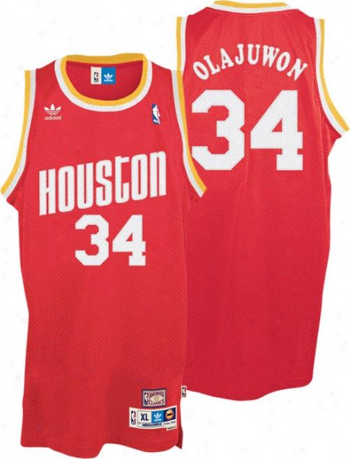 Hakeem Olajuwon Jersey: Adidas Red Throwback Swingman #34 Houston Rockets Jersey