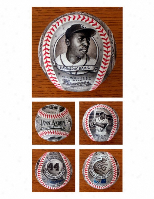 Hank Aaron Milwaukee Braves Hand Painted Baseball - By Mike Floyd
