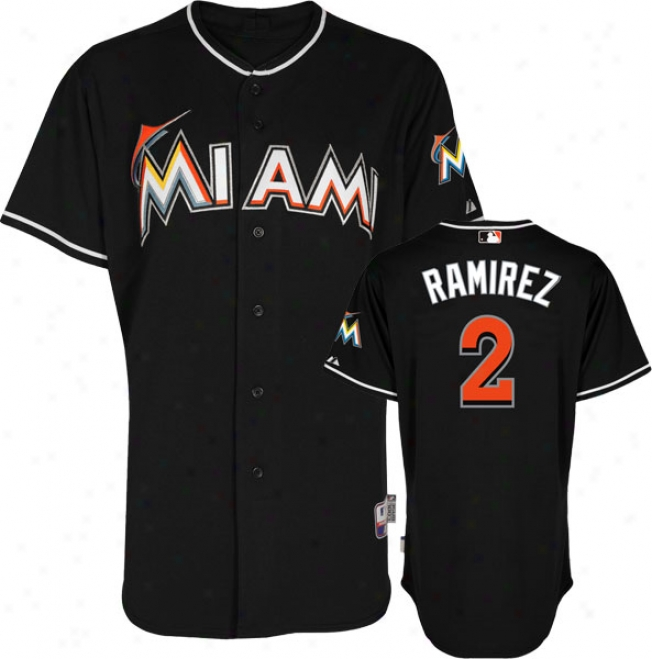 Hanley Ramirez Jersey: Miami Marlins #2 Alternate Black Authentic Cool Baseã¢â�žâ¢ Jersey