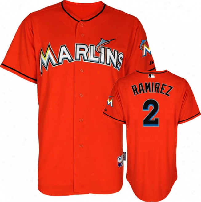 Hanley Ramirez Jersey: Miami Marlins #2 Alternate Firebrick Authentic Unimpassioned Baseã¢â�žâ¢ Jersey