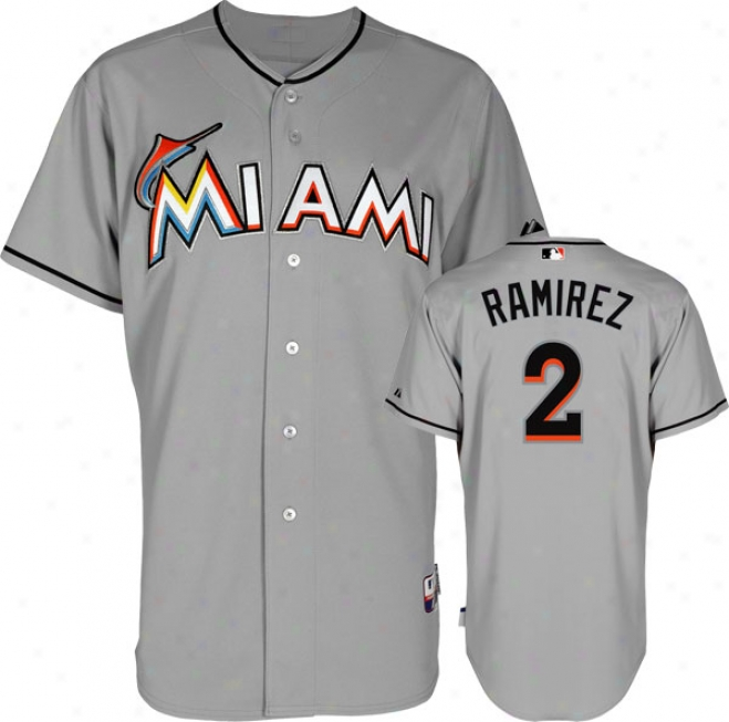 Hanley Ramirez Jersey: Miami Marlina #2 Road Grey Authentic Cool Baseã¢â�žâ¢ Jersey
