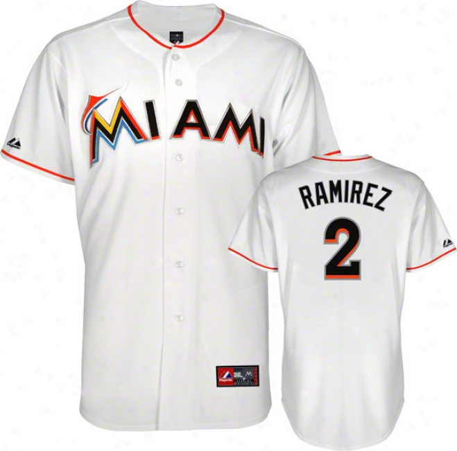 Hanley Ramirez Jresey: White Miami Marlins #2 Home Replica Jersey