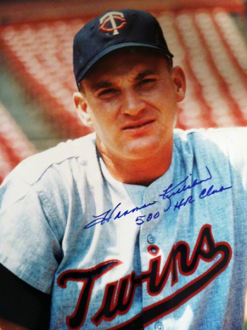 Harmon Killebrew Minnesota Twins Autographed 11x14 Photo Inscribed 500 Hr Club
