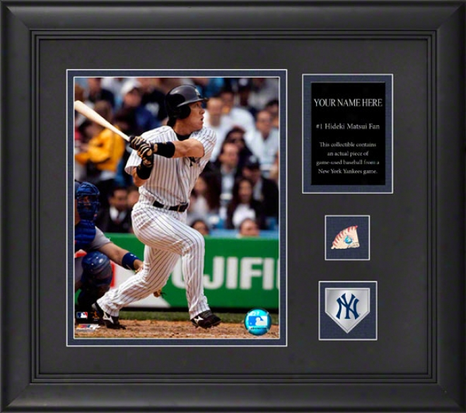 Hideki Matsui New York Yankees Framed 6x8 Photograph With Personalized Plate, Game Use Baseball Piece And Team Medallion