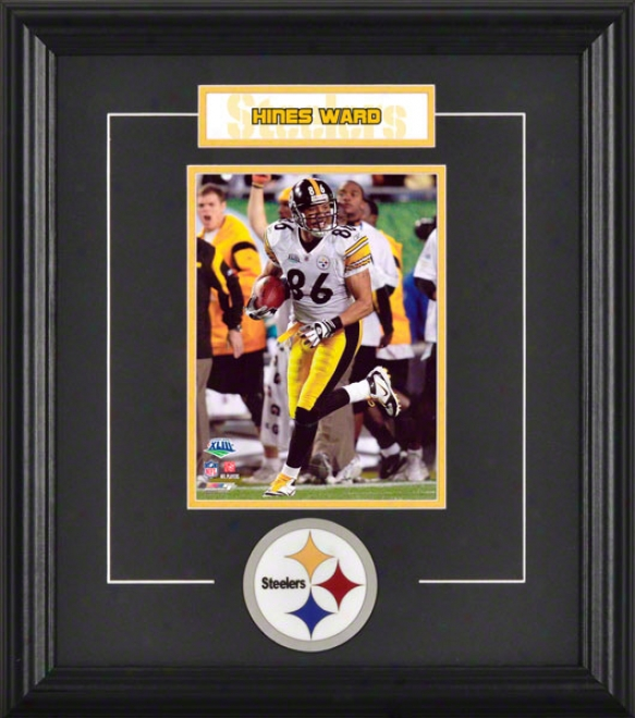 Hines Ward Framed 6x8 Photograph With Team Logo & Dish