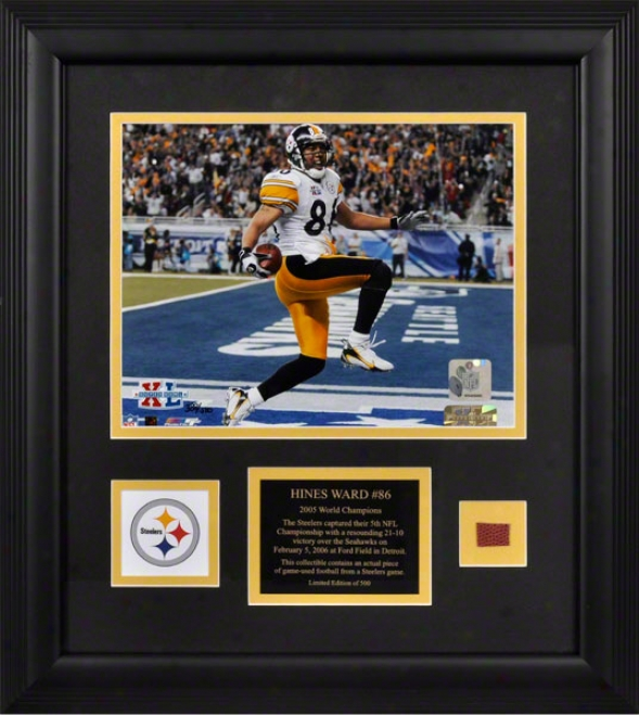 Hiines Ward Pittsburgh Steelers - Super Bowo Xl Champions - Framed 8x10 Photograph With Game Used 2005 Football