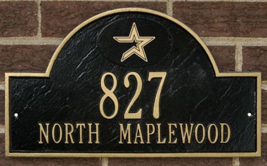 Houston Astros Black And Gold Personalized Address Wall Plaque