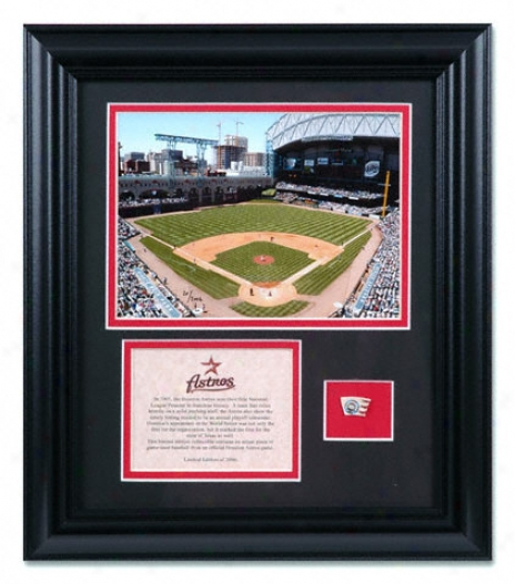 Houston Astros - Stadium - Framed6 x8 Photograph With Game Used Baseball And Plate