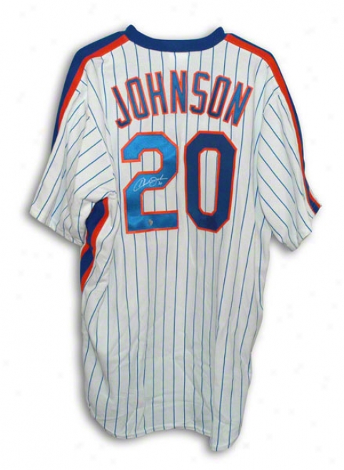 Howard oJhnson Autographed New York Mets White Pinstripe Majestic Jersey
