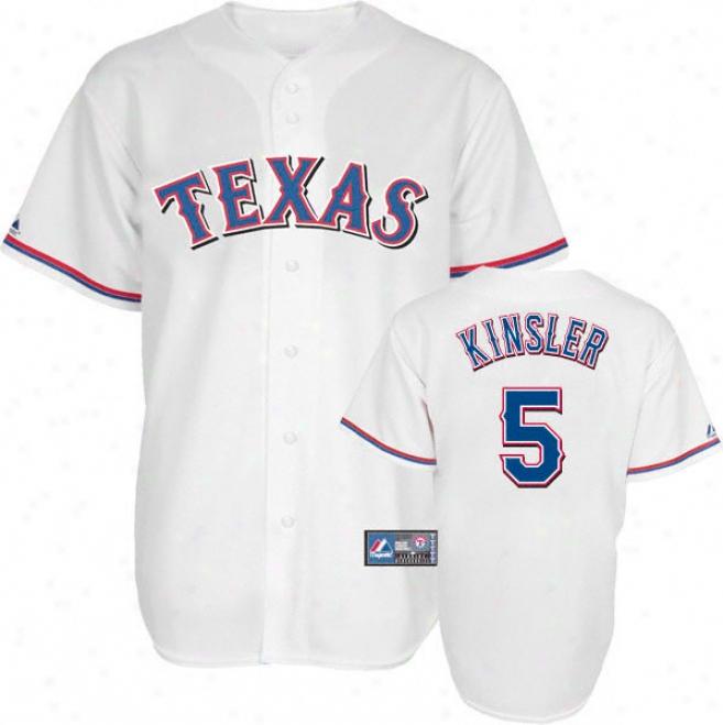 Ian Kinsler Jersey: Adult Majestic Internal White Replicaa #5 Texas Rangers Jersey