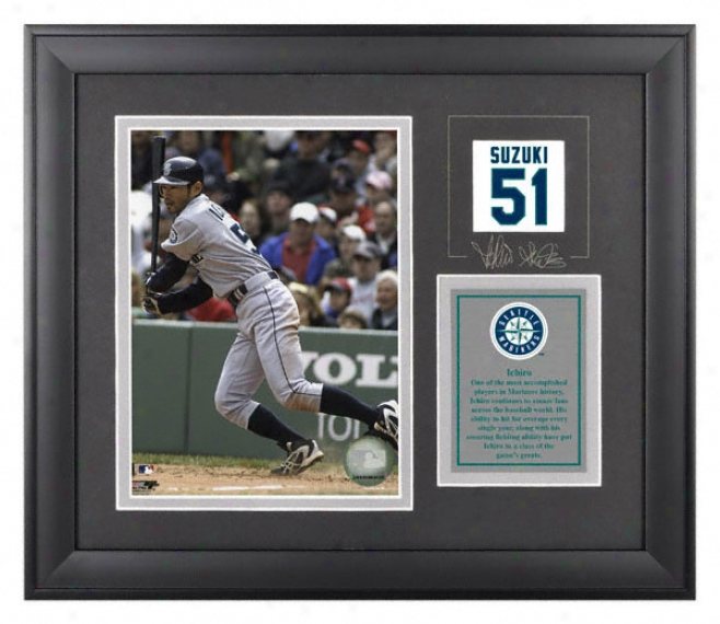 Ichiro Suzuki Framed 6x8 Photograph  Detailq: Seattle Mariners, With Facsimile Signature