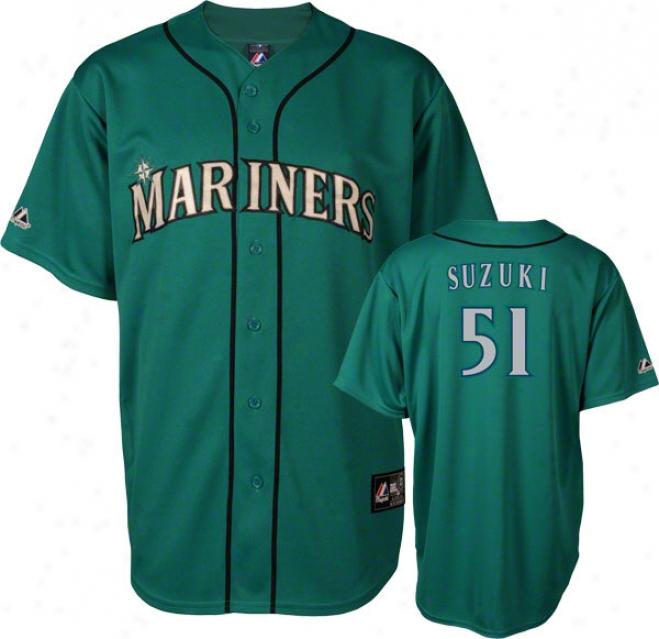 Ichiro Suzuki Jersey: Saettle Mariners #51 Alternate Teal Replica Jersey