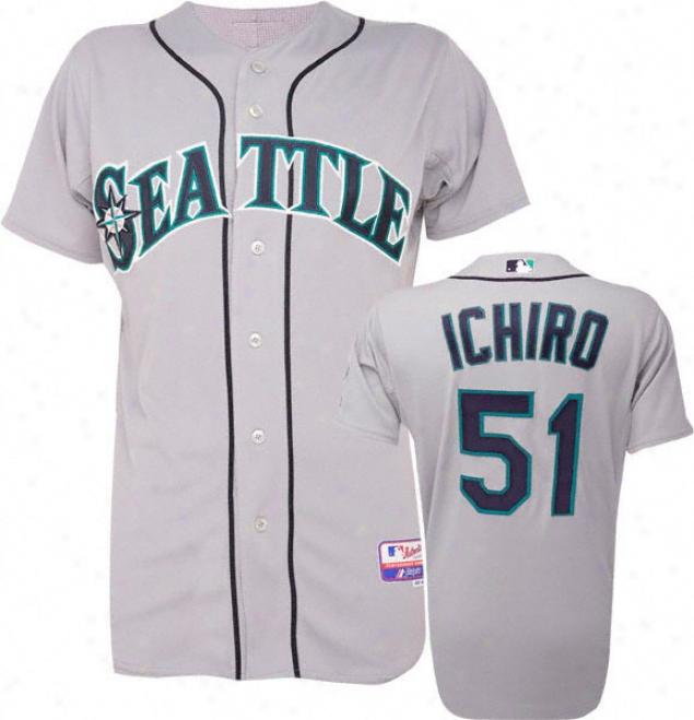 Ichiro Suzuki Majestic Road Authentic Onfield Cool Base Seattle Mariners Jersey